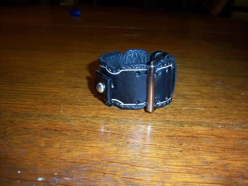 Custom Made Black Leather Watch Band