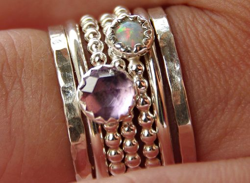 Custom Made Opal & Amethyst Stackable Birthstones Mothers Rings Mother's Day Gifts