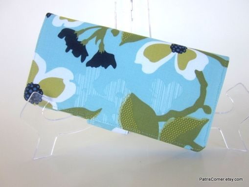 Custom Made Handmade Women Wallet Aqua Blue And Green Floral - Ready To Ship