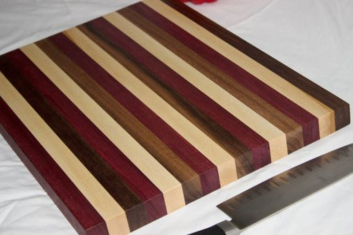 Custom Made Butcher Block, Cutting Board, Purpleheart, Walnut & Rock Maple