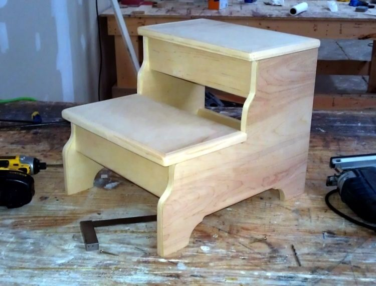Hand Crafted Bedside Step Stool By Ambassador Woodcrafts