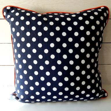 Custom Made Linen Navy/White Polka Dot Pillow