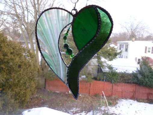 Custom Made Green Stained Glass Heart With Beads And Crystals