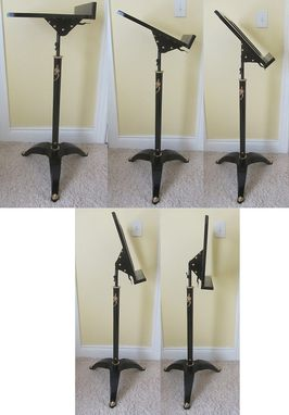 Custom Made Black Lacquer And Brass Music Stand