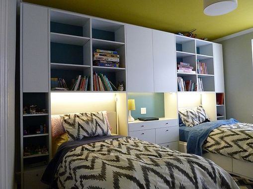 Custom Made Modular Wall Unit With Twin Beds Lighting And Desk Top.