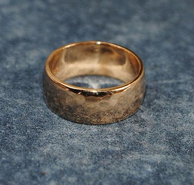 Custom Made 14k Yellow Gold Hammered Lo Dome Band
