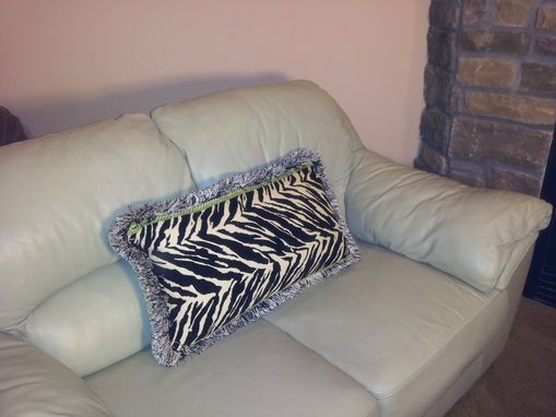 Custom Made Zebra Fabric Lumbar Pillow With A Two Layers Trim