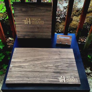"Custom Made Business Pro Set - Any Wood Type, Business Card Holder, & 12"" X 12"" Signage."