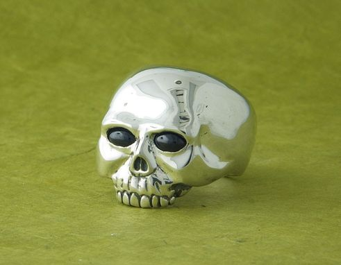 Custom Made Sterling Skull Ring With Sapphire