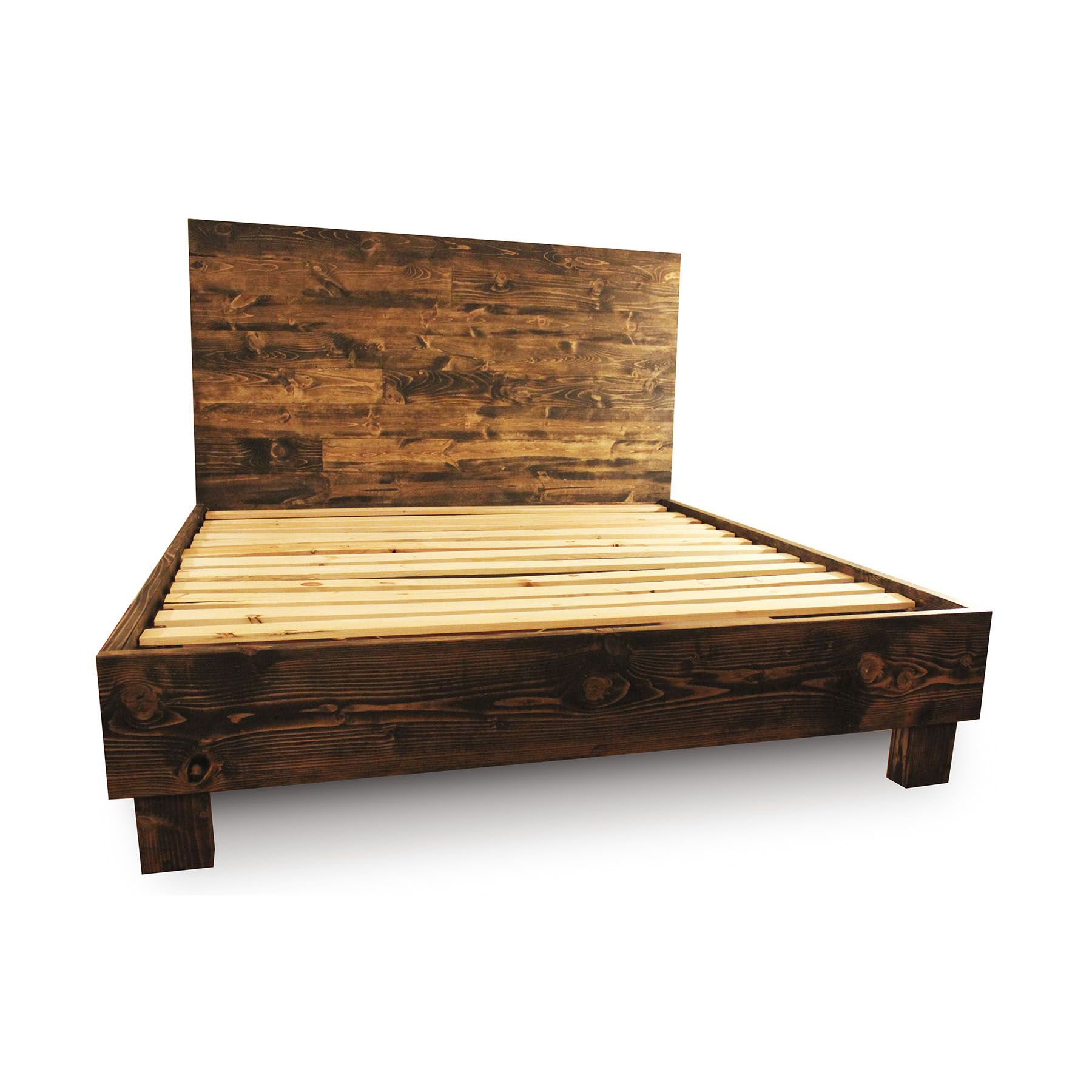 Custom Made Rustic Solid Wood Platform Bed Frame Headboard Reclaimed Style