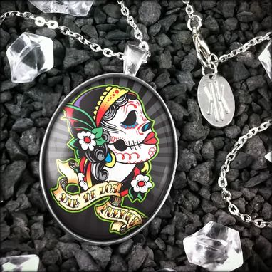 Custom Made Large Dia De Los Muertos Girl Sterling Silver Pendant Necklace 75-Slopn