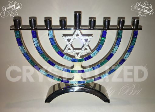 Custom Made Crystallized Hanukkah Menorah Jewish Holiday Decor Made With Swarovski Crystals