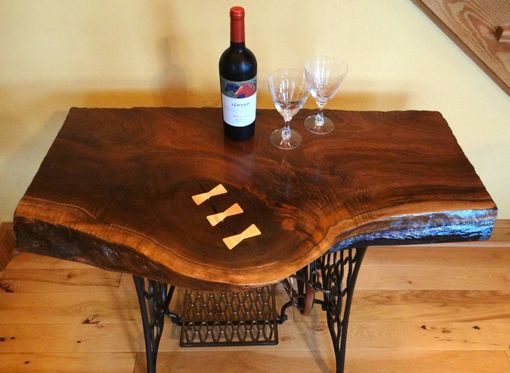 Custom Made Beautiful Live Edge Black Walnut Singer Sewing Machine Table/Desk/Bar