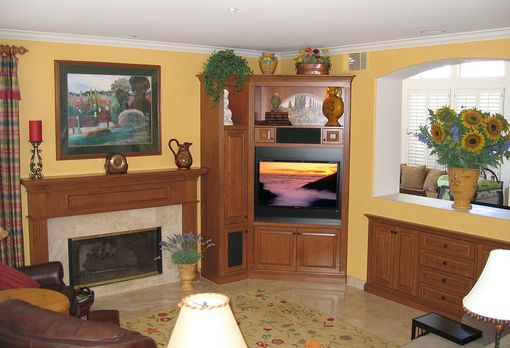 Custom Made Corner Entertainment Center, Fireplace Mantle, & Credenza