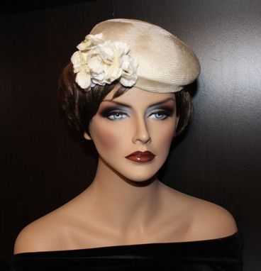 Custom Made Gorgeous Bridal Cocktail Hat/Fascinator - Vintage Parasisal With Velour Flowers- Color Creme