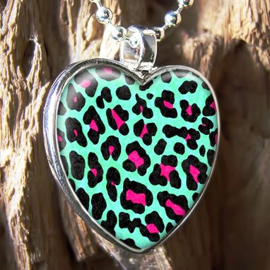 Custom Made Leopard Print Retro Sterling Silver Heart Pendant Necklace 207-Shn