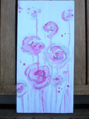 "Custom Made Pink Roses Painting Original Abstract-6""X12"" Pink White Silver Flowers"