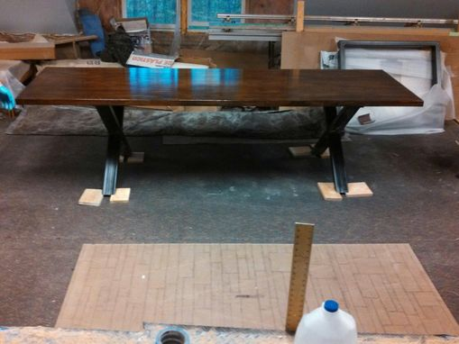 Custom Made X Base Oak Top Table