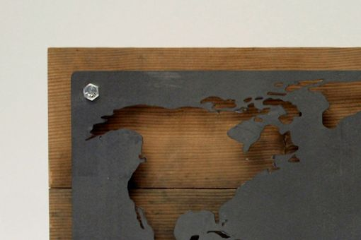 Custom Made Reclaimed Wood And Metal World Map Wall Art