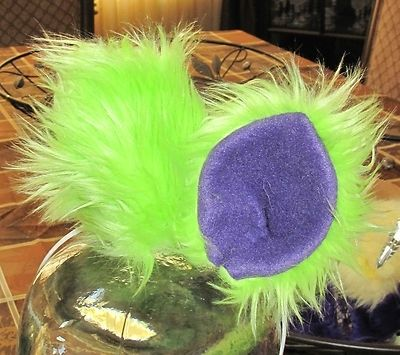 Custom Made Ears Luxury Long Pile Shag Faux Lime Green Fur With Metal Snap Hair Clips