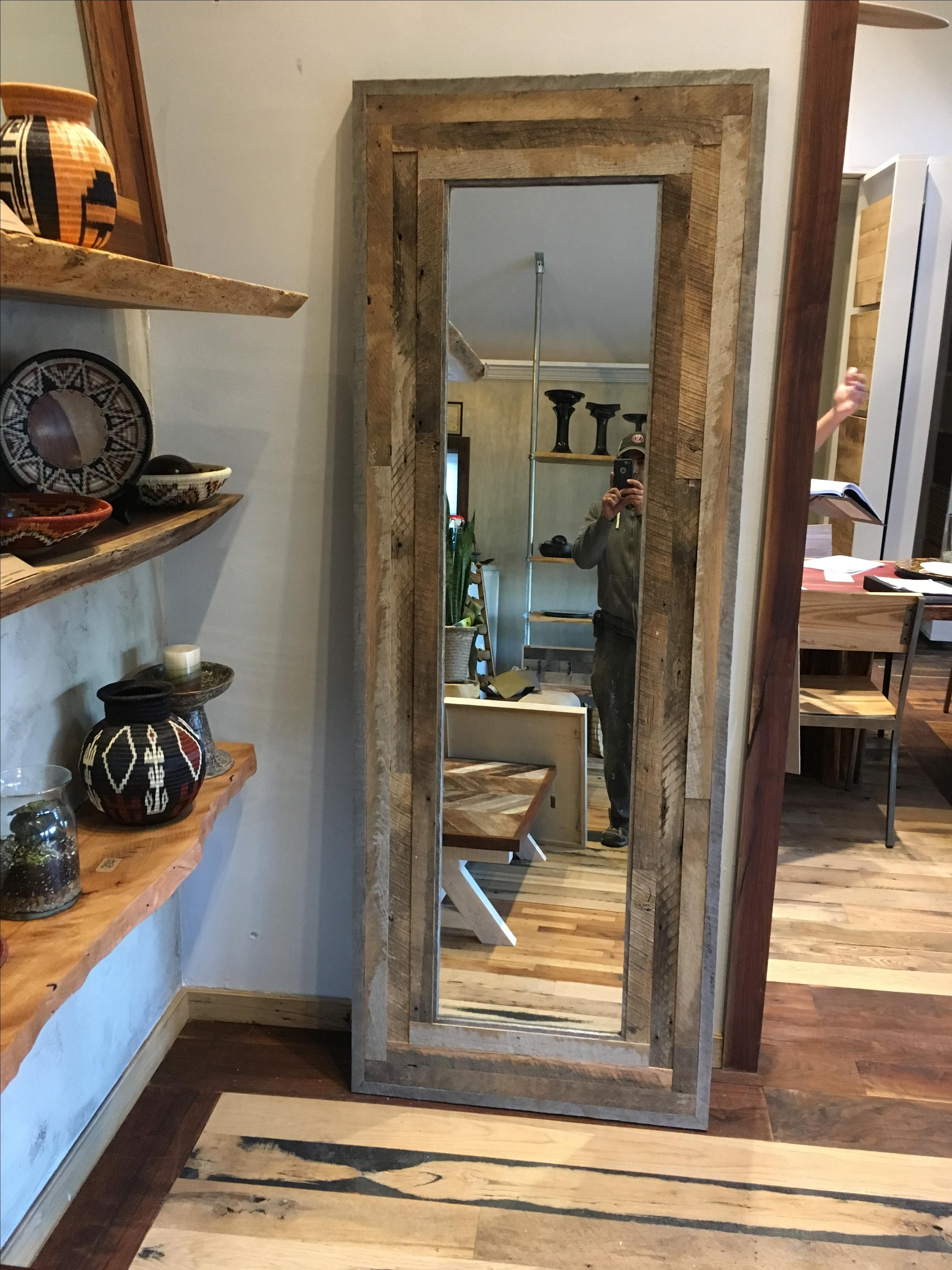 Buy A Hand Made Reclaimed Wood Leaning Wall Mirror Or Door Made To