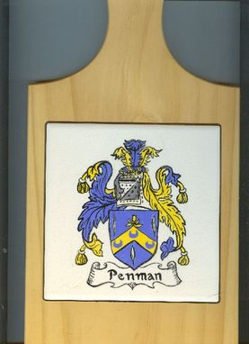 Custom Made Hand Painted Ceramic Tile:  Penman Coat Of Arms