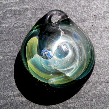 "Custom Made Hand-Blown Green And Yellow Abstract Glass Pendant ""Fuming Hand''"