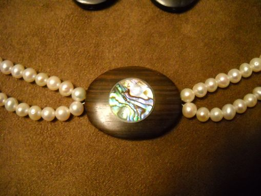 Custom Made Wood And Abalone Pendant With Pearls Necklace
