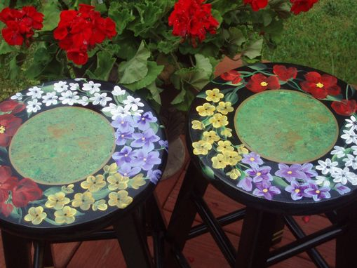 Custom Made Painted Floral Bar Stool - 24 Inches Or 29 Inches