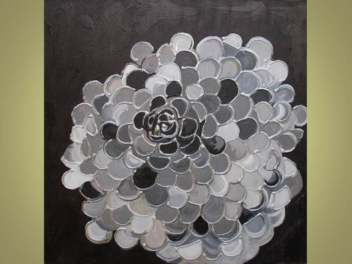 Custom Made Flower Fine Art Print Large Modern Marigold -Black Silver Gray Textured Look