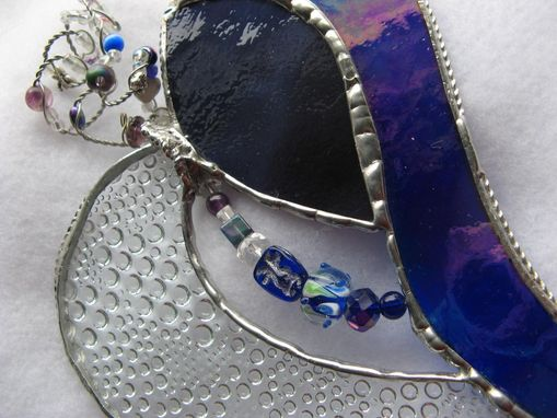 Custom Made Iridescent Blue And Purple Stained Glasses With Beads And Crystals