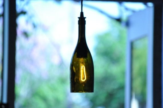 Hand made recycled wine bottle pendant lamp hanging wine bottle custom made recycled wine bottle pendant lamp hanging wine bottle bottle lamp with edison aloadofball Gallery