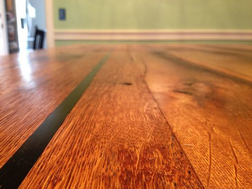 Custom Made Dining Table Reclaimed Barnwood  Oak And Cherry With Ebony Inlay