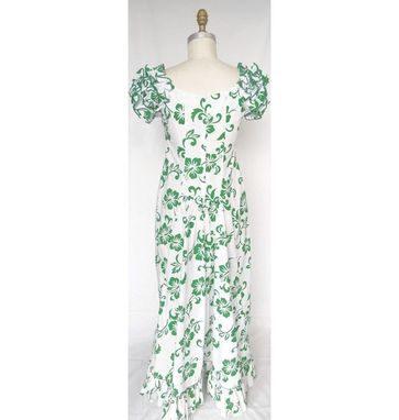 Custom Made White Hawaiianmuumuu Dress With Green Flowers And Ruffle Sleeves