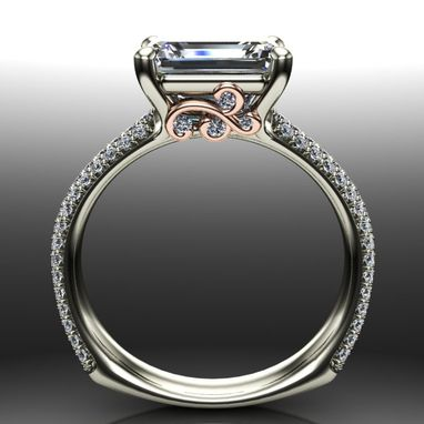 Custom Made Saddle Set Emerald Cut Diamond Engagement Ring