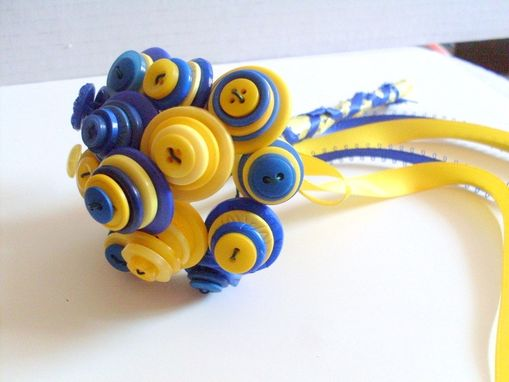 Custom Made Blue And Yellow Buttons Wedding Toss Bouquet