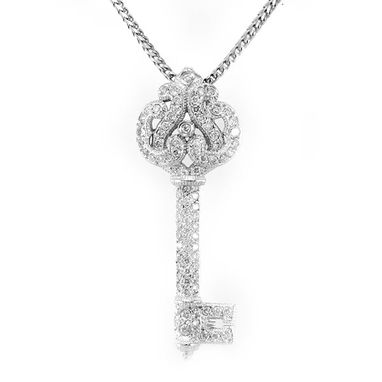 Custom Made Diamond Key Pendant In 14k White Gold, Key Pendant, Ladies Pendant, Diamond Pendant