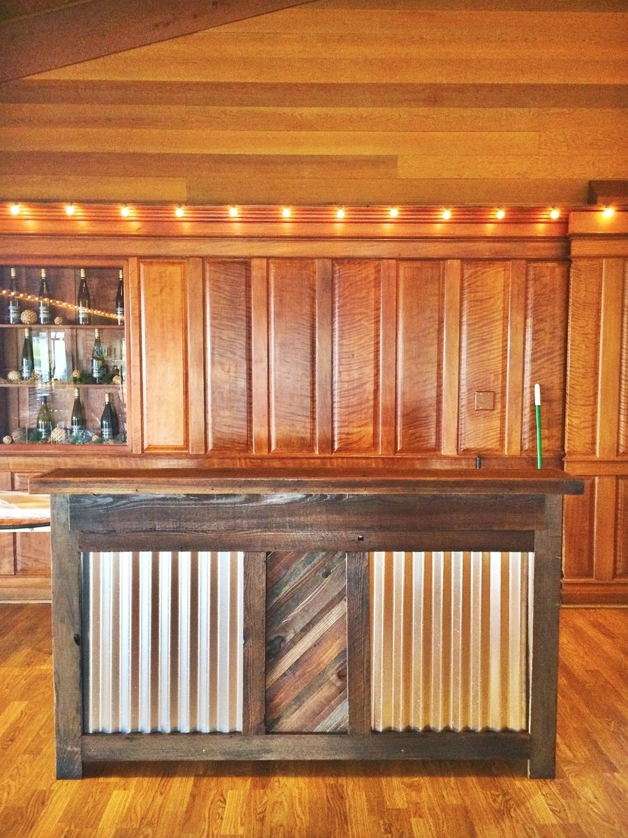 Custom made reclaimed wood rustic bar by urban mining for Wooden bar design