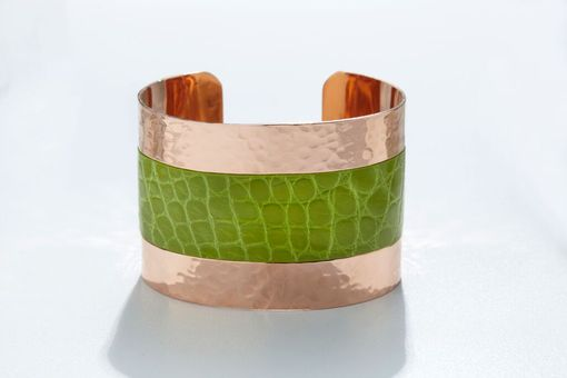 Custom Made Genuine Alligator Luxury Cuff/Bracelet With Hammered Copper Finish In Chartreuse (Green)