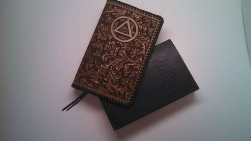 Custom Made Leather Alcoholics Anonymous Big Book Cover With Serenity Prayer