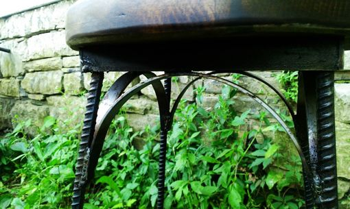 Custom Made Reclaimed Wood Industrial Style French Bistro Stool