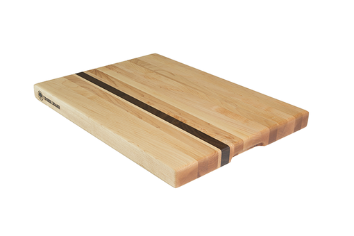 Custom Made Maple Cutting Board With Offset Walnut Stripe, Edge Grain