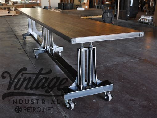 Custom Post Industrial Conference Table By Vintage