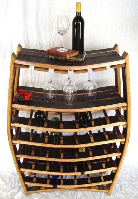 Buy A Custom Chablis Barrel Stave Wine Bottle And Glass Rack Made