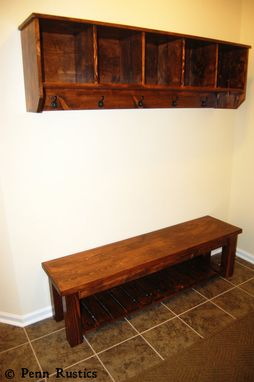Custom Made Rustic Farmhouse Oversized Entryway Wall Shelf With Coat Hangers And Cubicles