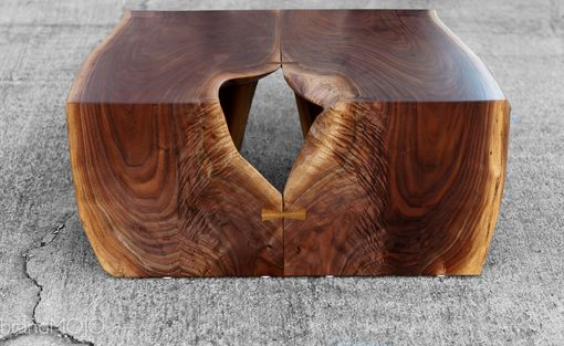 Custom Made Live Edge Waterfall Walnut Coffee Table