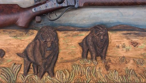 "Custom Made ""Shiloh Prarie"" Hand Carved Wildlife Scene / Rifle Display"