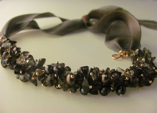 Custom Made Smoky Quartz, Tourmaline Rondelle And Recycled Parachute Ribbon