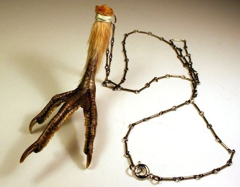 Custom Made Humane Dried Grouse Foot Embroider Wrapped On Genuine Antique Silver Chain