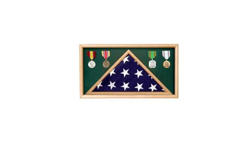 Custom Made Army Oak Flag Memorial Display Case
